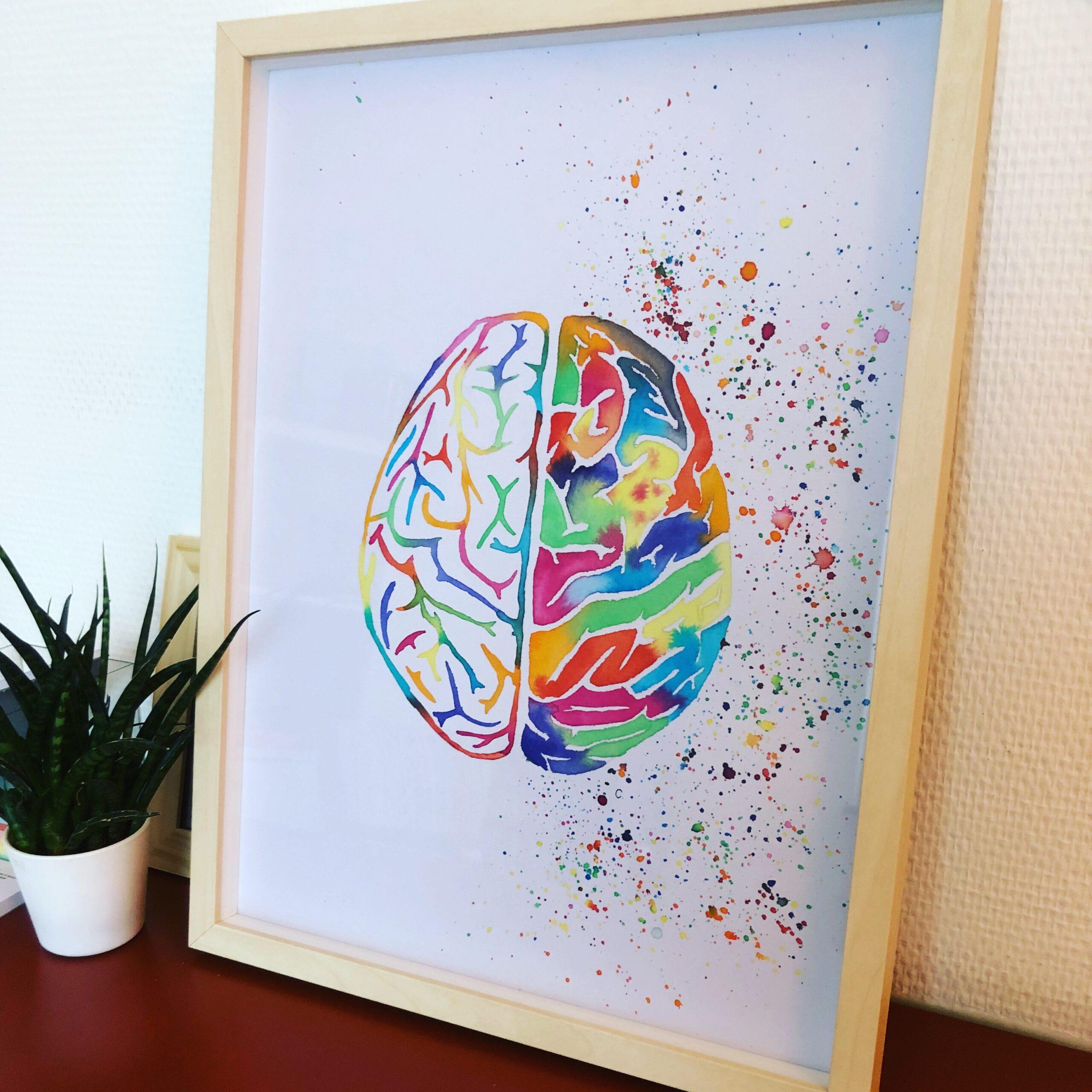 psycholoog kunst hersenen waterverfkunstwerk